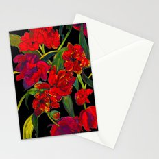 Inky Tulips Black Stationery Cards