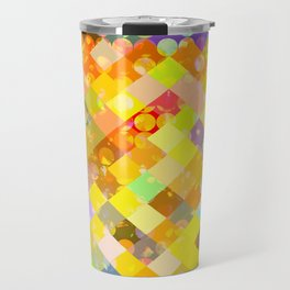 geometric square pixel and circle pattern abstract in yellow orange red blue Travel Mug