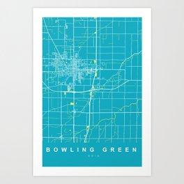 BOWLING GREEN map - OHIO - US | Aqua Art Print