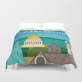 Charleston, West Virginia - Skyline Illustration by Loose Petals Duvet Cover