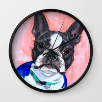 boston terrier Wall Clocks featuring Boston Terrier by A.M.