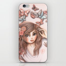 Paper Butterflies with girl iPhone Skin