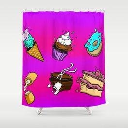 Exploding Desserts Shower Curtain