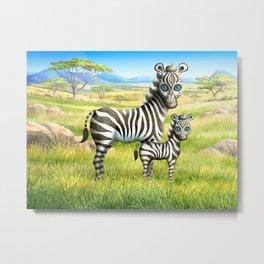 Zebra and Foal Metal Print