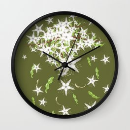 Flowers and Leaves of the Australian Aniseed Myrtle Tree - Syzygium anisatum Wall Clock