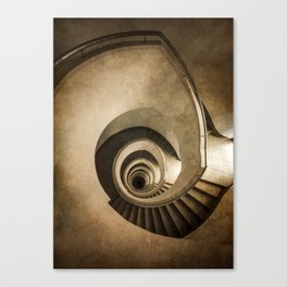 Spiral staircase in brown tones Canvas Print