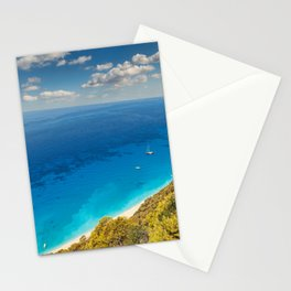 The incredible colors of the beach Egremnoi in Lefkada, Greece Stationery Cards