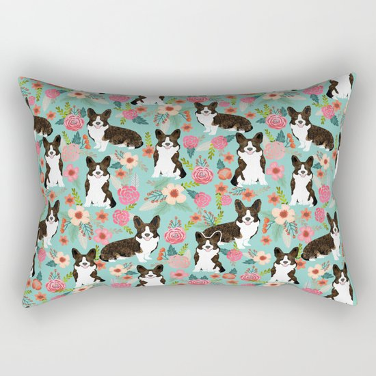 Brindle Cardigan Corgi Florals - cute corgi design, corgi owners will love this mint florals corgi Rectangular Pillow