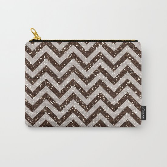 Sparkling brown glitter chevron pattern - coffee IV Carry-All Pouch