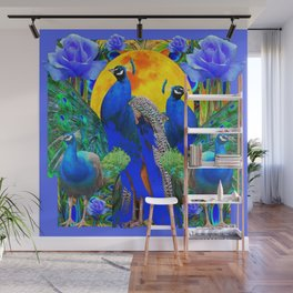 BLUE ROSES & BLUE GREEN PEACOCK FLORAL PATTERN Wall Mural