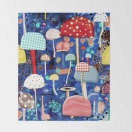 Blue Mushrooms - Zu hause Marine blue Abstract Art Throw Blanket