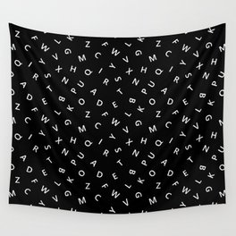The Missing Letter Alphabet B&W Wall Tapestry