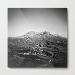 Mount St. Helens in Black and White - Holga Photograph Metal Print
