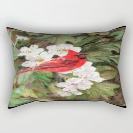 Red Bird on Hawthorn Flowers Rectangular Pillow