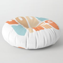 Good Vibes. Retro Lettering in Orange, Tan, and Light Blue on White. Spread Positivity Floor Pillow