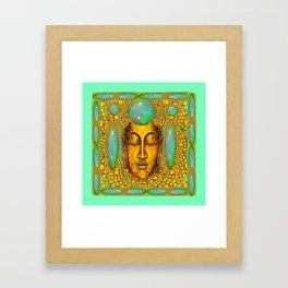JADE GREEN PRECIOUS FIRE OPAL GEMS GOLD BUDDHA Framed Art Print