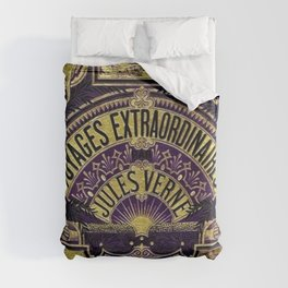 Jules Verne Voyages Extraordinaire Purple Lithographic Print by Jeanpaul Ferro Duvet Cover
