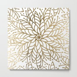 Elegant white faux gold floral trendy mandala Metal Print