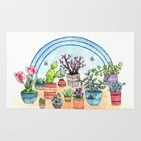 plants Area & Throw Rugs featuring Household Plants by Brooke Weeber