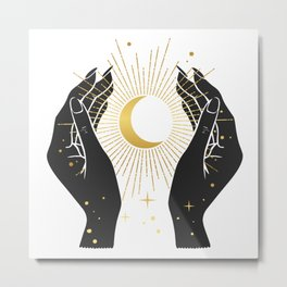 Gold La Lune In Hands Metal Print