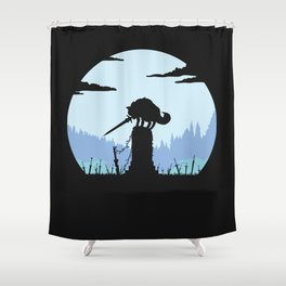Grey Wolf Sif (Dark Souls) - in black Shower Curtain