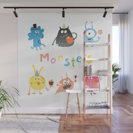 Set with monsters. Wall Mural