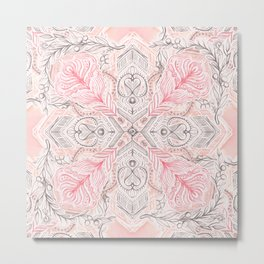 Peaches and Cream Doodle Tile Pattern Metal Print