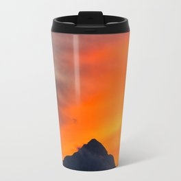 Stunning vibrant sunset behind mountain Travel Mug