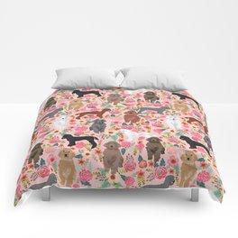 Poodle mixed coat colors brown poodle black poodle white poodle pet portrait dog art animal Comforters