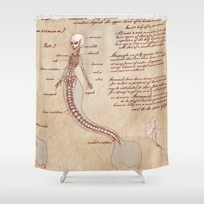 Anatomy Of The Mermaid Shower Curtain