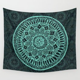 Blue Doodle Mandala Wall Tapestry