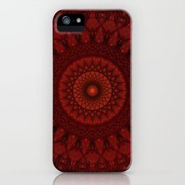 Dark and light red mandala iPhone Case