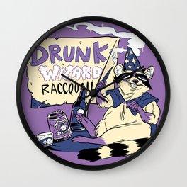 Drunk Wizard Raccoon Wall Clock