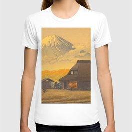 Vintage Japanese Woodblock Print Sepia Japanese Farm Mount Fuji Farmer T-shirt