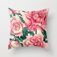 peonies Throw Pillows featuring Peonies by Lynette Sherrard Illustration and Design
