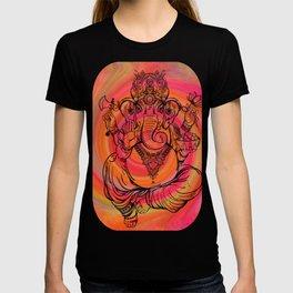 Lord Ganesha on Coral Spiral T-shirt