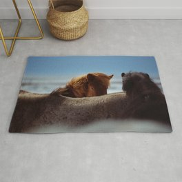 TWO BROWN HORSES IN MACRO SHOT PHOTOGRAPHY Rug