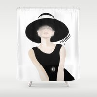tiffany Shower Curtains featuring Breakfast Tiffany by carotoki art and love