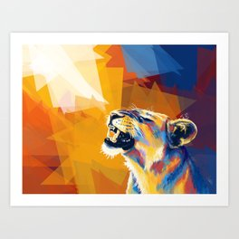 In the Sunlight - Lion portrait, animal digital art Art Print