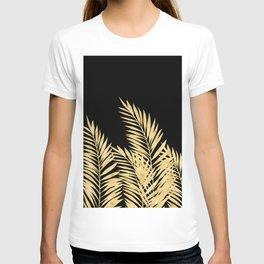 Palm Leaves Golden On Black T-shirt