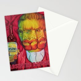 Vintage Green Fairy Absinthe Aperitif Red Vincent van Gogh Lithograph Advertisement Poster Stationery Cards