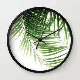 Palm Leaves Green Vibes #9 #tropical #decor #art #society6 Wall Clock