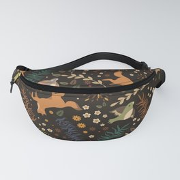 Autumn Woodsy Floral Forest Pattern With Foxes And Birds Fanny Pack