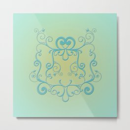 Mint tendrils emblem Metal Print