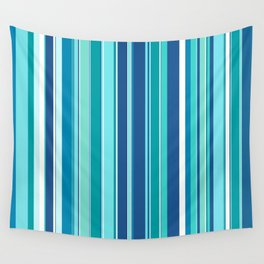 Stripes (Parallel Lines) - White Blue Wall Tapestry