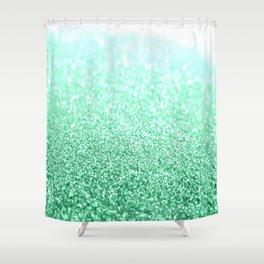 seafoam green glitter Shower Curtain