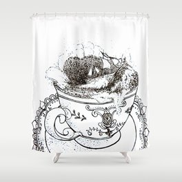 Tempest in a Teacup Shower Curtain