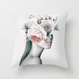 WOMAN WITH FLOWERS 11 Throw Pillow