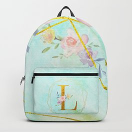 Gold Foil Alphabet Letter L Initials Monogram Frame with a Gold Geometric Wreath Backpack