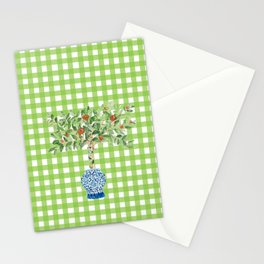Green Gingham Orange Tree Ginger Jar Painting  Stationery Cards